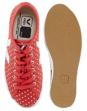 Image 2 ofVeja Taua Leather Red Polka Dot Plimsolls