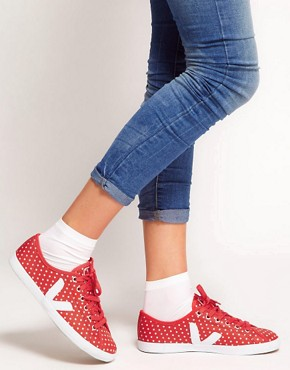 Image 3 ofVeja Taua Leather Red Polka Dot Plimsolls
