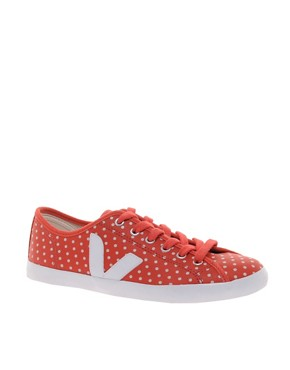 Image 1 ofVeja Taua Leather Red Polka Dot Plimsolls