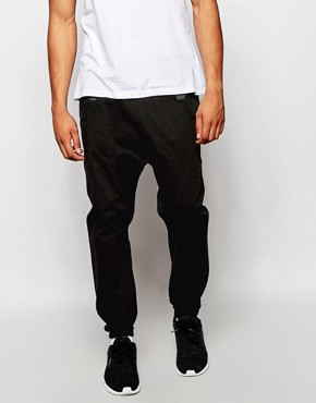 ASOS Drop Crotch Joggers With Cargo Styling In Black
