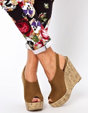 Image 3 ofNew Look Highness Vamp Tan Wedge Sandals