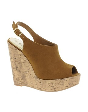 Image 1 ofNew Look Highness Vamp Tan Wedge Sandals