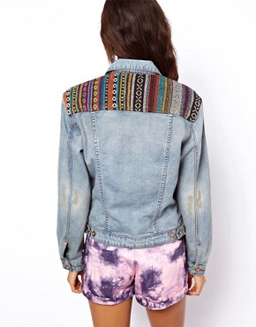 Image 2 ofASOS Denim Boyfriend Jacket with Aztec Trim