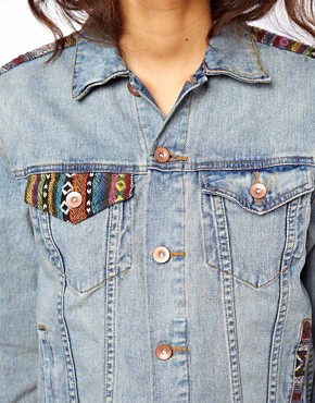 Image 3 ofASOS Denim Boyfriend Jacket with Aztec Trim