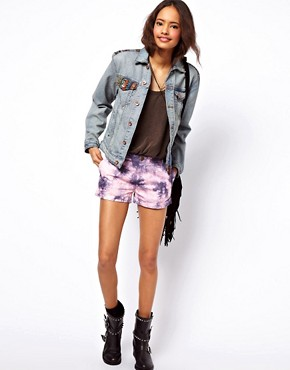 Image 4 ofASOS Denim Boyfriend Jacket with Aztec Trim