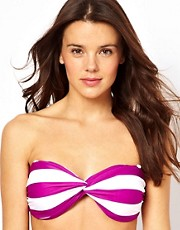 ASOS Mix and Match Stripe Twist Bandeau Fuller Bust Bikini Top D-F