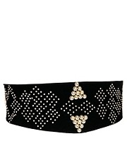 New Look Studded Wide Stretch Waist Belt
