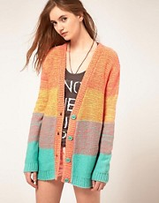ASOS Boyfriend Cardi in Space Dye Color Block