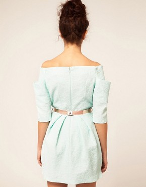 Image 2 ofRiver Island Shoulderless Belted Dress