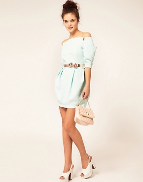 Image 4 ofRiver Island Shoulderless Belted Dress
