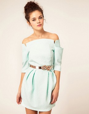 Image 1 ofRiver Island Shoulderless Belted Dress