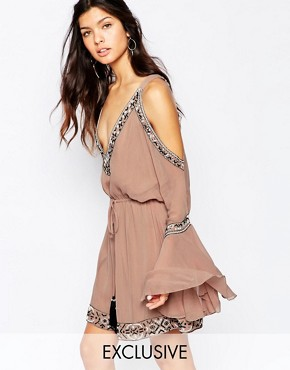 White Sand Silk Embellished Plunge Front Mini Dress With Cold Shoulder