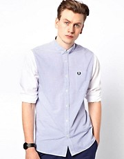 Fred Perry Shirt with Stripe Body and Plain Sleeves