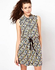 Vero Moda Print Dress With Drawstring Waist