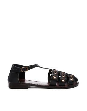 ASOS JUPITER Leather T-Bar Flat Shoes