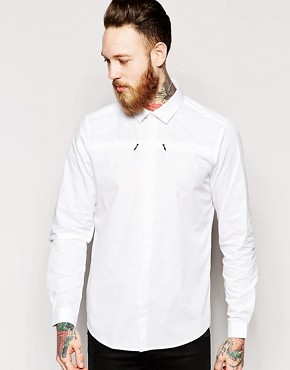 ASOS Shirt In Long Sleeve With Zip Pockets