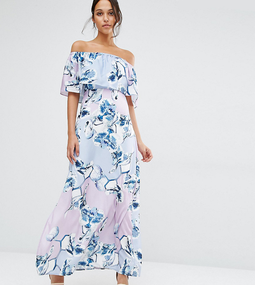 Every Cloud Patched Floral Off Shoulder Maxi Dress