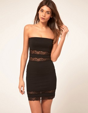 Image 1 ofASOS Strapless Dress with Lace Inserts