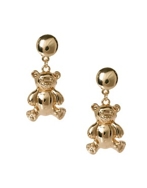 Image 1 ofASOS Teddy Bear Drop Earrings