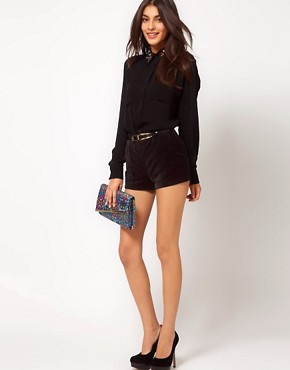 Image 1 ofASOS Velvet Mini Shorts With Seamed Detail