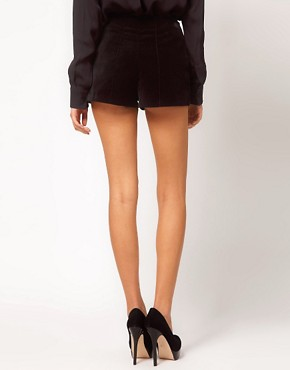 Image 2 ofASOS Velvet Mini Shorts With Seamed Detail