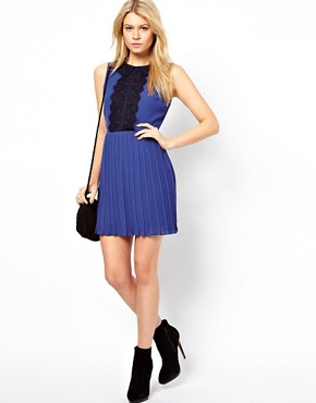 Image 4 ofASOS PETITE Exclusive Skater Dress With Lace Peterpan Collar