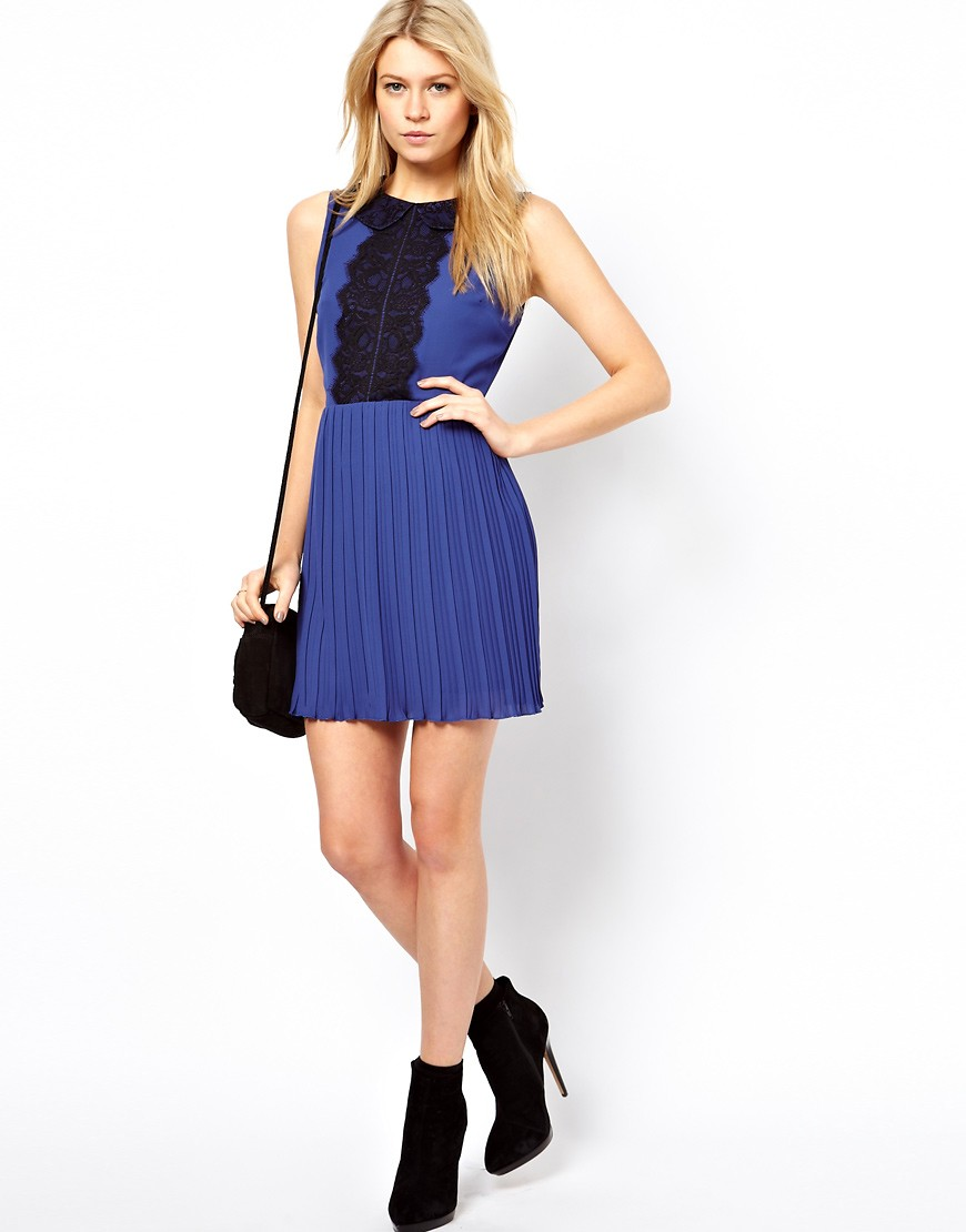 Image 4 of ASOS PETITE Exclusive Skater Dress With Lace Peterpan Collar