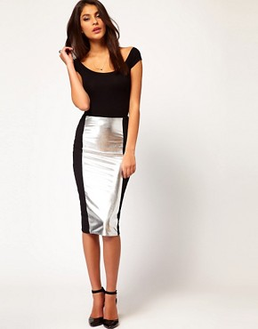 Image 1 ofASOS Pencil Skirt with Hollogram Panel