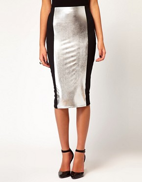 Image 4 ofASOS Pencil Skirt with Hollogram Panel