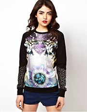 ASOS Sweatshirt with Woven Front Tiger Print with Studs