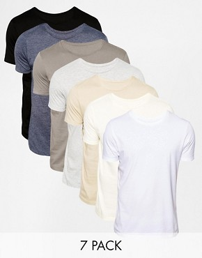ASOS T-Shirt With Crew Neck 7 Pack Save 24%