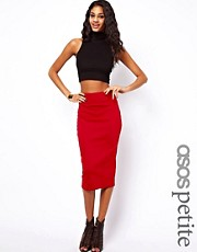 ASOS PETITE Wasp Pencil Skirt In Ponte