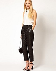 ASOS Black Floral Jacquard Pants