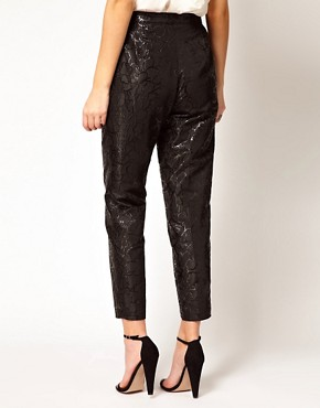 Image 2 ofASOS Black Floral Jacquard Trousers