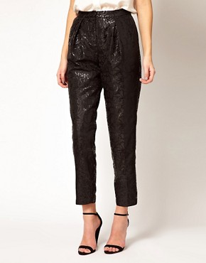Image 4 ofASOS Black Floral Jacquard Trousers