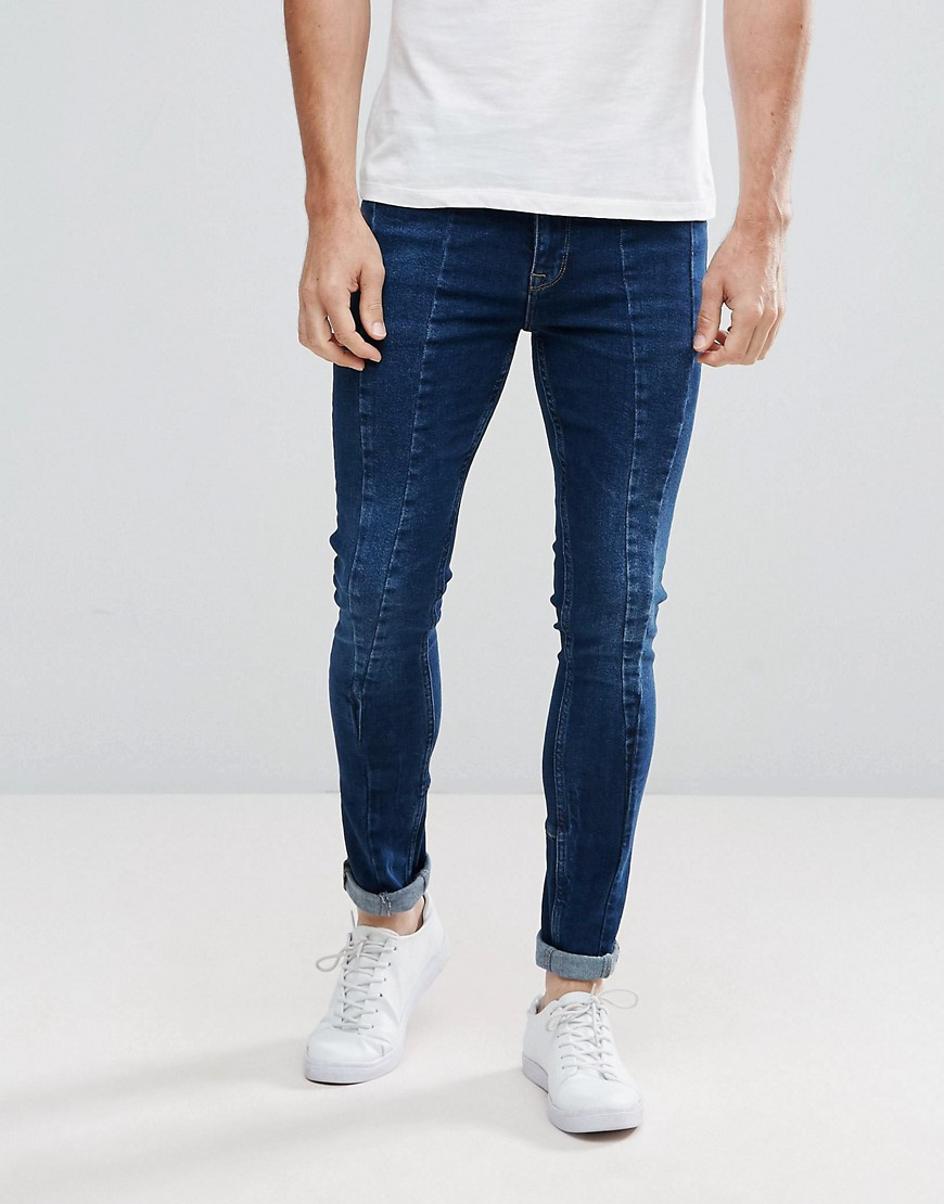 ASOS Extreme Super Skinny Jeans In Dark Blue With Cut And Sew Details - Dark wash blue