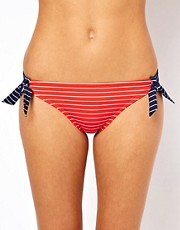 Minibraguitas de bikini a rayas de talle bajo con tiras en contraste de Esprit
