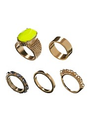 ASOS Stone Ring Pack