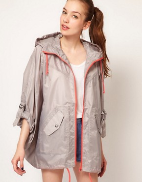 Image 1 ofVila Contrast Zip Rain Poncho