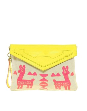 Image 1 ofASOS Envelope Clutch With Leather Trim