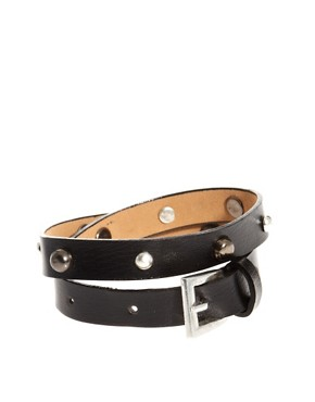 Image 1 ofASOS Leather Look Wrap Bracelet With Studs