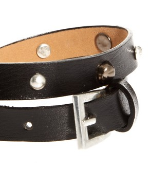 Image 3 ofASOS Leather Look Wrap Bracelet With Studs