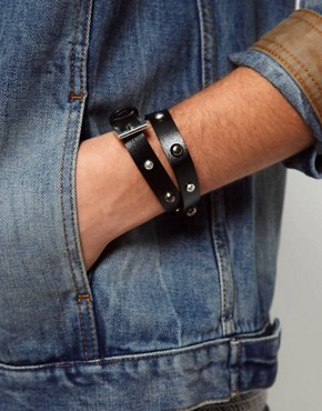 Image 4 ofASOS Leather Look Wrap Bracelet With Studs