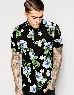 ASOS Shirt With Floral Print In Drape fabric