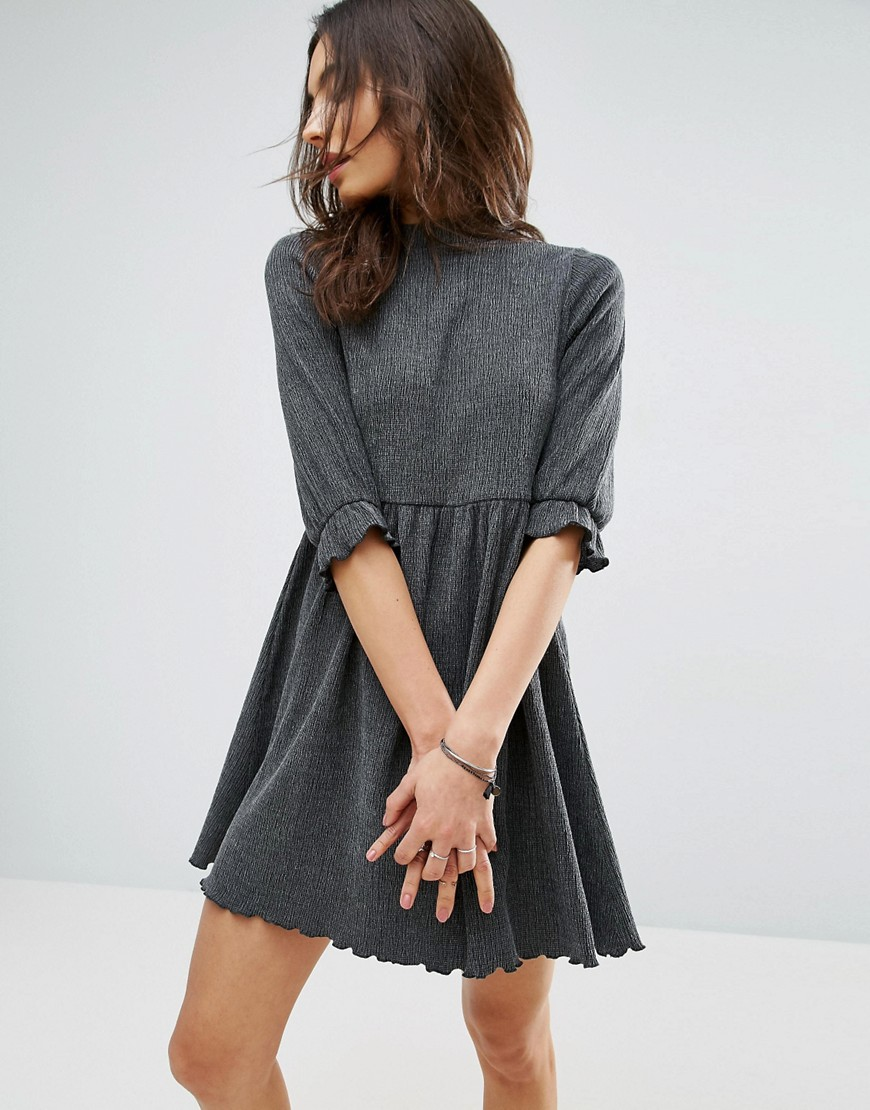 ASOS Smock Dress In Textured Fabric - Gray