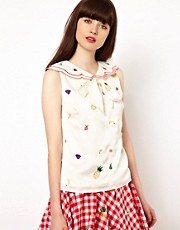 Nishe Top with Scalloped Collar and Fruit Embroidery