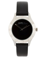 Marc By Marc Jacobs Black Leather Strap With Silver Round Face