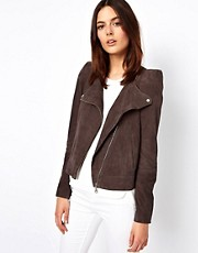 Vanessa Bruno Ath  Wildleder-Bikerjacke mit stark betonten Schultern