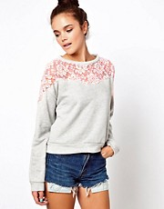 Glamorous Crop Sweatshirt with Neon Lace Insert