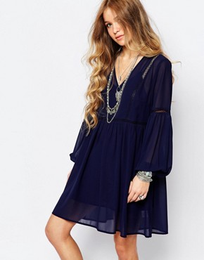 Glamorous Smock Dress with Lace Insert